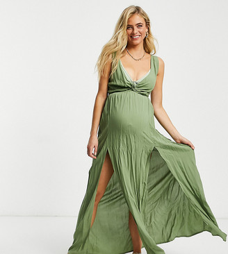 ASOS DESIGN maternity tie back beach maxi dress with twist front detail in khaki
