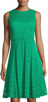 Neiman Marcus Lace Sleeveless Fit-&-Flare Dress, Green