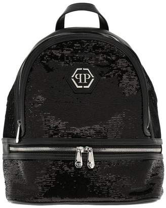 Philipp Plein Backpack Backpack In Leather And Sequins With Hexagonal Monogram And Zip