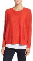Eileen Fisher Petite Women's Ballet Neck Boxy High/low Pullover