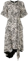 Proenza Schouler Zebra Print Short Sleeve Draped Dress