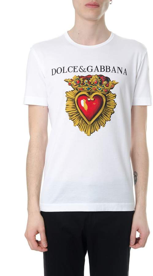 Dolce & Gabbana White Jersey Cotton Heart Print