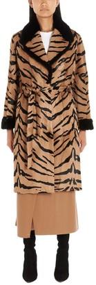 Simonetta Ravizza Tiger Print Belted Trench Coat