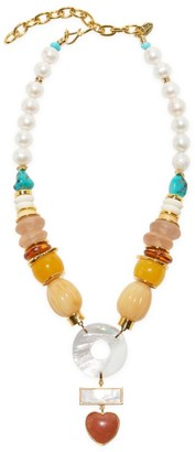 Lizzie Fortunato Capri Goldplated, 13-14MM Freshwater Pearl & Multi-Beaded Pendant Necklace