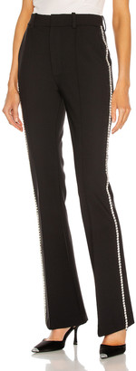 Area Crystal Stitched Slim Flare Pant in Black | FWRD