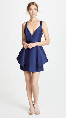 Halston Dramatic Flounce Skirt Dress