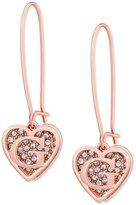 GUESS Rose Gold-Tone Pavé Heart Logo Drop Earrings