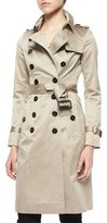 Burberry Sateen Double-Breasted Trenchcoat, Stone