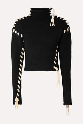 Acne Studios Kerri Whipstitched Wool Turtleneck Sweater - Black