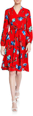 London Times Bishop-Sleeve Print Fit And Flare Dress