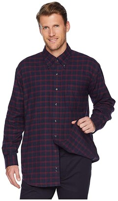 Magna Ready Classic Fit Button Down Collar Plaid Flannel (Burgundy) Men's Clothing