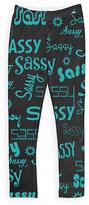 Urban Smalls Black & Aqua 'Sassy' Leggings - Toddler & Girls