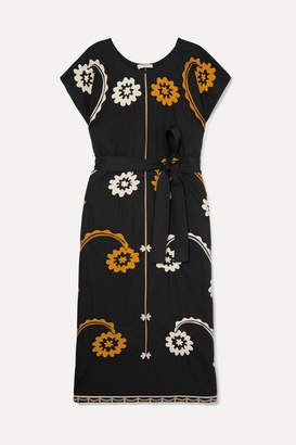 Tory Burch Belted Embroidered Cotton Midi Dress - Black