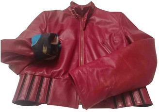 Dolce & Gabbana Burgundy Leather Leather Jacket for Women