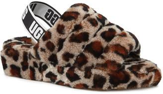 UGG Fluff Yeah Leopard Shearling Sandal Slippers