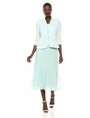 Alex Evenings Women's Tea Length Mock Dress with Sequin Jacket