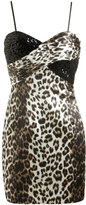 Satin Leopard Print Mini Dress