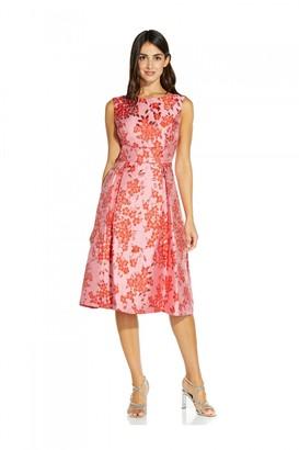 Adrianna Papell Floral Jacquard Midi Dress