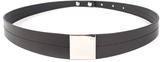 Luana Black & Silvertone Square-Plate Leather Belt