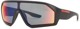Prada Linea Rossa Mirrored matte black wrap-around sunglasses