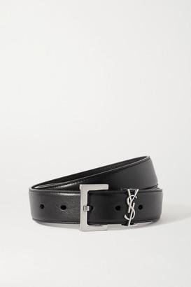 Saint Laurent Monogramme Leather Belt - Black