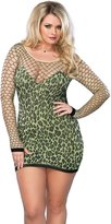 Leg Avenue Women's Plus Size Seamless Leopard Print Mini Dress with Diamond Net Bodice and Sleeves