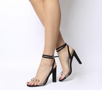 Office Harlan Two Part Block Sandal Heels Perspex Multi Gem