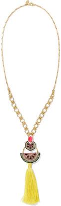 Elizabeth Cole 24-karat Gold-plated, Crystal And Tassel Necklace