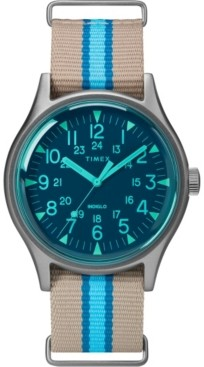 Timex Boutique Timex MK1 Aluminum California 40mm Tan with Blue Stripe Fabric Strap Watch