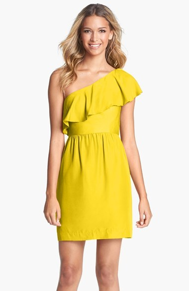 Lulu Jenny Yoo 'Lulu' Ruffled One-Shoulder Sheath Dress (Online Only)