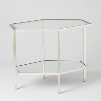 """Global Views Coffee Table with Storage Size: 21"""" H x 17"""" W x 25"""" D, Color: Silver Leaf"""