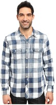 True Grit Rockin Roll Indigo Buffalo Plaid Long Sleeve Two-Pocket Vintage Shirt