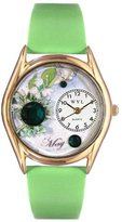 Whimsical Watches Women's C0910005 Classic Gold Birthstone: May Light Green Leather And Goldtone Watch