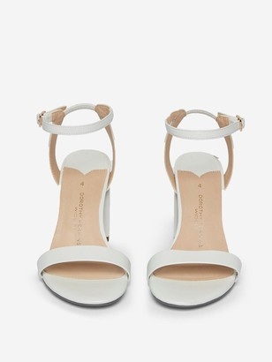 Dorothy Perkins Wide Fit Shimmer Block Heeled Sandal - White