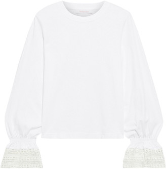 See by Chloe Guipure Lace-trimmed Cotton-jersey Top