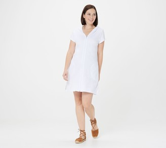 Denim & Co. Beach Knit Terry Hooded Zip-Front Cover-Up