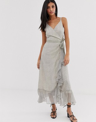 AllSaints dayla speckle midi dress with ruffle-White