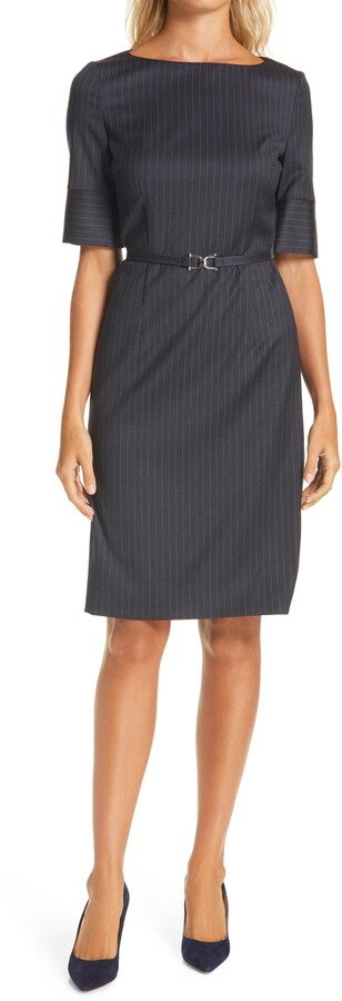 HUGO BOSS Dirusila Pinstripe Stretch Wool Dress