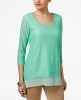 JM Collection Petite Layered-Look Lace Tunic, Created for Macy's