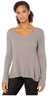 True Grit Dylan by Softest Slub Waffle Long Sleeve Slant Seam V-Neck (Vintage Grey) Women's Clothing
