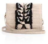 Nancy Gonzalez Small Butterfly-Detail Crocodile Clutch