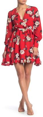 MelloDay Floral Waist Tie Dress