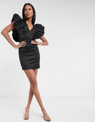 Rare London frill-sleeved mini pencil dress in black