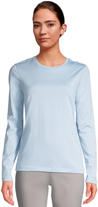 Lands' End Women'sLands' End Relaxed-Fit Supima Cotton Long Sleeve Crewneck Tee