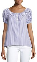 Caroline Constas Striped Short-Sleeve Bardot Top, Blue