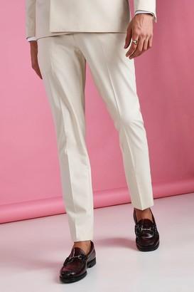 boohoo Mens Cream Skinny Plain Suit Trouser, Cream