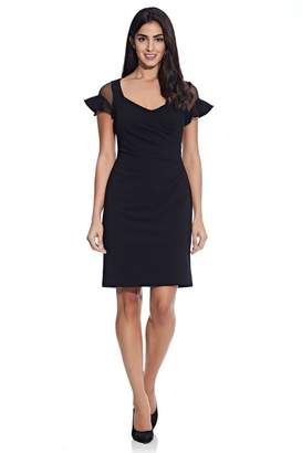 Adrianna Papell Womens Black Knit Crepe Illusion Dress - Black