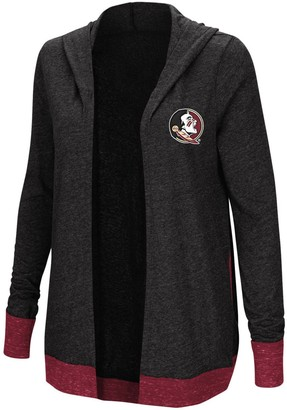 Colosseum Women's Charcoal Florida State Seminoles Plus Size Steeplechase Open Hooded Tri-Blend Cardigan