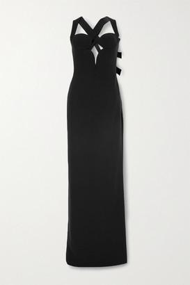 Versace Cutout Stretch-crepe Gown - Black