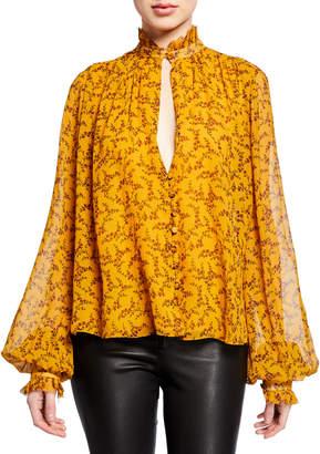 Jonathan Simkhai Printed Silk Chiffon Ruffle High-Neck Blouse